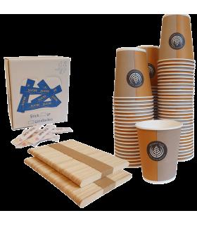 Kit écologique avec 200 gobelets 15cl, 200 spatules bois, 200 sucres 4Gr.
